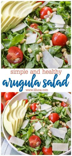 You are going to LOVE this simple arugula salad that is loaded with healthy greens, juicy tomatoes, and shavings of parmesan cheese. Don't forget to top with pine nuts and a little avocado! Simple Arugula Salad with Tomatoes and Pine Nuts Winter Salad Recipes, Arugula Salad Recipes, Easy Salads, Healthy Salad Recipes, Spinach Salad, Healthy Dinners, Healthy Smoothies, Parmesan, Avocado