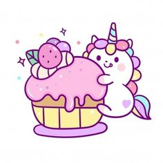Find Cute Unicorn Vector Muffin Cake Happy stock images in HD and millions of other royalty-free stock photos, illustrations and vectors in the Shutterstock collection. Thousands of new, high-quality pictures added every day. Emoji Kawaii, Kawaii Chibi, Kawaii Art, Cute Food Drawings, Cute Animal Drawings Kawaii, Art Drawings For Kids, Unicorn Drawing, Unicorn Art, Cute Unicorn
