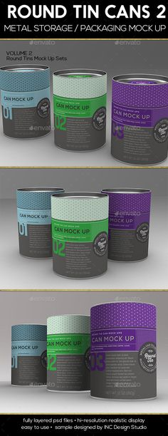Round Tin Cans Vol.2 Packaging Mock Ups - Food and Drink Packaging