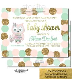 An appealing color combination with this attractive and Blush Pink Mint and Gold Owl Baby Shower Invitation featuring blush pink, mint green and simulated gold glitter polka dots and simulated gold foil  http://starliteprintables.indiemade.com/product/owl-baby-shower-invitation-girl-blush-pink-mint-gold-glitter-dots