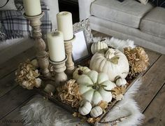 White pumpkins and dried hydrangeas white washed candle holders on coffee table. Neutral Fall decor