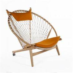 Stilnovo FEC1627DORG Hoop Chair in Oak Natural/Orange