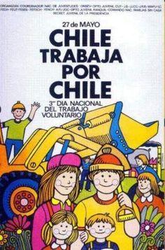 1973. Chile trabaja por Chile Chili, Political Posters, Breaking Bad, Travel Posters, Vintage Posters, Nostalgia, War, Comics, Illustration