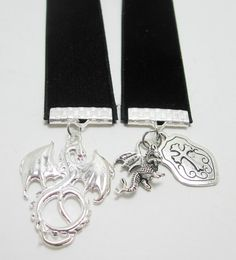 Silver Dragon and Shield Charm Black Velvet by WhispySnowAngel, $10.00