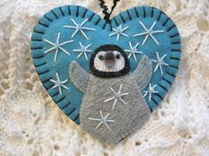 Baby Penguin Ornament  Made to Order Embroidered by SandhraLee