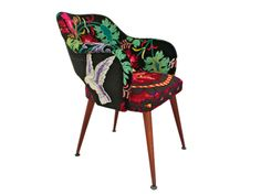 A fantastic midcentury Saarinen style chair. Back and front is upholstered using a beautiful vintage velvet embroidery with silk threads depicting spring. Velvet Furniture, Vintage Velvet, Hand Embroidery, Mid Century, Cushions, Sofa, Interior Design, Chair, Heart
