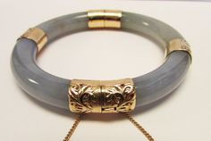 Estate Ming's of Honolulu 14K Hinged  Deep Lavender Green Jade Bangle Bracelet  by Alohamemorabilia