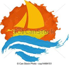 Vector - Sailing boat on the water - stock illustration, royalty free illustrations, stock clip art icon, stock clipart icons, logo, line art, EPS picture, pictures, graphic, graphics, drawing, drawings, vector image, artwork, EPS vector art