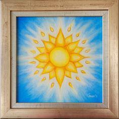 Sun Mandala Oil Painting Small Gold Oil by GwenDudaStudios on Etsy