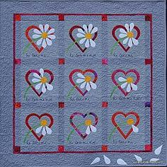 He Loves Me by Sue Pelland Designs Mini Quilt Patterns, Applique Patterns, Applique Quilts, Quilting Patterns, Quilting Ideas, Quilting Designs, Lap Quilts, Small Quilts, Heart Quilts