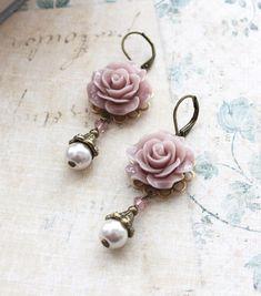 Mauve Rose Earrings with Pearl Drops - Light Purple Drops