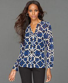 INC International Concepts Top, Long-Sleeve Split-Neck Printed