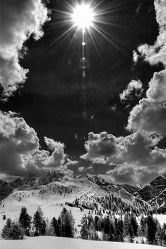 Landscape in the mountains with snow black and white Dolomites Alps by Visionitaliane