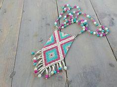 Pink Turquoise and Seafoam Diamond Chevron Loom Woven Tassel