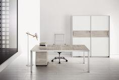 comp. VR10 #ufficio #direzionale con scrivania struttura in metallo, #armadio #archivio con ante scorrevoli e #cassettiera su ruote