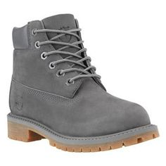 "The boot that debuted over 40 years ago and is still on-trend today: Timberland's ""Premium 6-Inch Boot"" in Gray Nubuck with the traditional padded, anti-chafing ankle collar. Featuring seam-sealed wat"