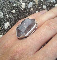 Smoky quartz crystal point ring #quartz #crystal #sterlingsilver