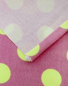Neon Yellow Polkadot on Pink Cotton Jersey Knit per by landofoh, $18.75