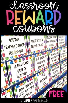 These FREE reward coupons are for free or low cost items that your students really want. Things like:⁣ • eating lunch with the teacher and a friend ⁣• leading the class in a game or activity ⁣ • using a pen for the day⁣ • sitting in the teacher's chair⁣ • teacher cleans and organizes your desk⁣ • pick your own partner ⁣• and more!⁣