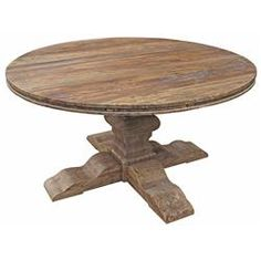 Maris French Country Reclaimed Elm Round Dining Table | Kathy Kuo Home
