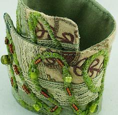 SALE 50 Fabric Cuff Bracelet Green Art by FlowingReflections