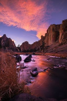 ~~Crooked on Fire ~ blazing red sunset at Smith Rock State Park, Oregon by Michael Bollino~~