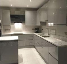 Kitchen Cupboard Designs, Grey Kitchen Designs, Luxury Kitchen Design, Contemporary Kitchen Design, Interior Design Kitchen, Kitchen Ceiling Design, Kitchen Room Design, Home Decor Kitchen, Kitchen Modular