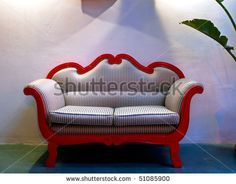 Restored Vintage Sofa Loft Stock Photo (Edit Now) 51085900 Photo Restoration, Vintage Sofa, Old Furniture, Red Paint, Sofas, Love Seat, Photo Editing, Royalty Free Stock Photos, Old Things