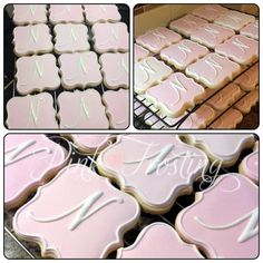more monogram cookies No Bake Sugar Cookies, Sugar Cookie Frosting, Fancy Cookies, Cut Out Cookies, Cute Cookies, Royal Icing Cookies, Cupcake Cookies, Cupcakes, Wedding Shower Cookies