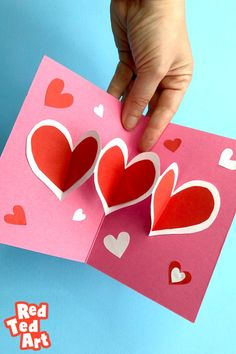 At Red Ted Art we ADORE pop up cards. This is a super Easy Heart Pop Up Cards perfect for Valentine's Day or Mother's Day. Love the bright, cheerful Valentine's colours. Find out more and add it to your must make list! Roses Valentine, Funny Valentine, Valentine Day Cards, Valentine Crafts, Valentines Art For Kids, Teachers Day Greetings, Teachers Day Card, Teacher Cards, Cards Diy