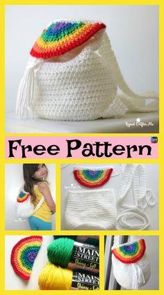 Cute Crochet Rainbow Backpack Free Pattern P - Cute Crochet Rainbow Backpack - Free Pattern Cute Crochet, Crochet For Kids, Crochet Crafts, Crochet Baby, Crochet Backpack, Backpack Pattern, Crochet Purse Patterns, Crochet Purses, Crochet Shell Stitch