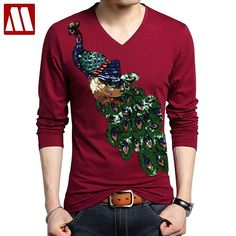 c1ec8dd43b7 Males s Cotton T Shirts Lengthy Sleeve Peacock Sequins Embroidery Tops For  Male Plus Measurement V neck