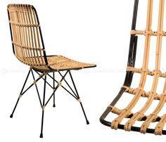 KUBU CHAIR   Rattanová stolička v elegantnej subtílnej oceľovej konštrukcii