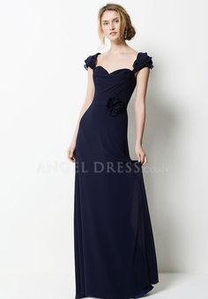 Chiffon A line Sweetheart Natural Waist Floor Length With Flowers Bridesmaid Dress