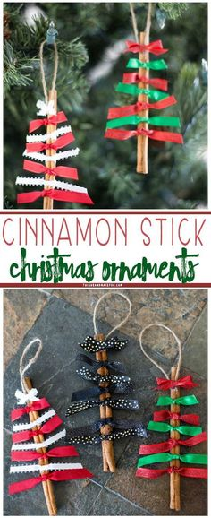 Stick Christmas Ornaments Cinnamon stick Christmas ornaments are easy to make, smell wonderful and make great gifts for friends and family.Cinnamon stick Christmas ornaments are easy to make, smell wonderful and make great gifts for friends and family. Easy Christmas Crafts, Noel Christmas, Christmas Activities, Winter Christmas, Christmas Tree Ornaments, Christmas Ideas, Ornaments Ideas, Christmas Decorations Diy For Kids, Homemade Decorations