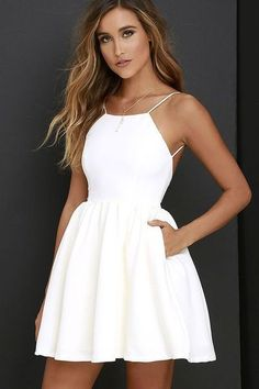 Cute White Halter Homecoming Dress,Mini Short Prom Dress,Sleeveless Homecoming Dress with Pockets - Prom Dresses Design Sexy Homecoming Dresses, Hoco Dresses, Trendy Dresses, Sexy Dresses, Dress Outfits, Casual Dresses, Graduation Dresses, Fitted Dresses, Party Dresses