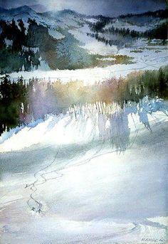 Зимняя природа в нежной акварели от художницы Nita Engle