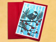 Block Printed Christmas Card - Chickadee.  I like the blue/white tree background.