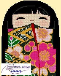 Kokeshi+Girl+Doll+5++KaZuKo+by+CrossStitchRinna+on+Etsy