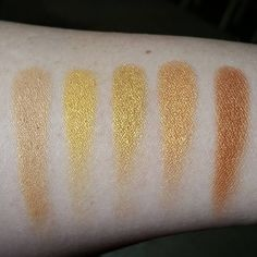 Coastal scents hot pots L-R: golden touch, venetian gold, seaside bronze, 18 karat gold, sun worshiper