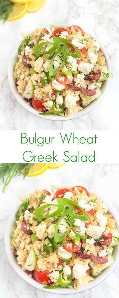 This whole grain Bulgur Wheat Greek Salad is full of crunchy veggies, creamy feta and kalamata olives then dressed in a fresh lemon-dill vinaigrette.