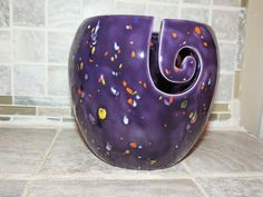 Yarn Bowl, triple thread, unique Purple speckled glaze.  Perfect gift for Christmas! Measures 6 x 6 by GabiLuBoutique on Etsy