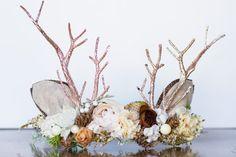 Antler Flower Crown - Woodland Rustic Halo - Flowergirl piece - Christmas Wedding - Deer Newborn Prop - Wedding Crown - Floral Hairpiece