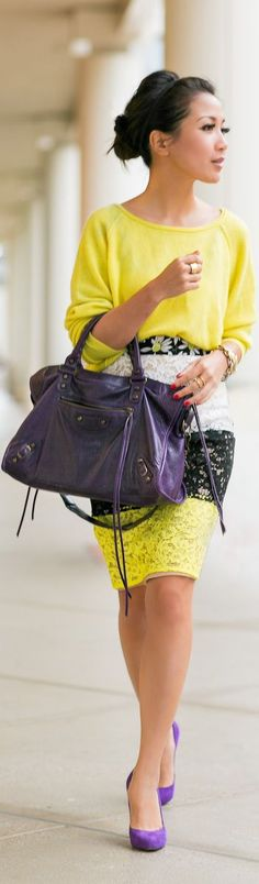 #Yellow #office #outfit #inspiration -MyBeautyCompare Pinterest for more #fashion #idea #fbloggers #skirt #purple #heel #hair #makeup #bag #style #trendy #glam #chic #casual #smart #professional #work #wear #look
