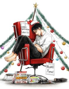 Happy birthday Levi, and merry Christmas (: Armin, Mikasa, Eren Y Levi, Attack On Titan Anime, Ereri, Levihan, Levi Ackerman, Anime Manga, Anime Art