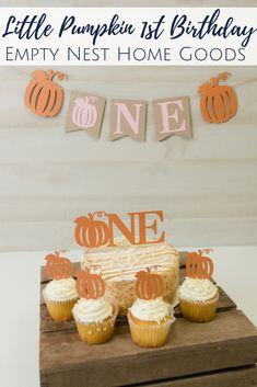 Little Pumpkin Banner, ONE Pumpkin Banner, Girl Little Pumpkin Decor, Pink Pumpkin Truck Party Fall First Birthday, Pumpkin First Birthday, Birthday Ideas, Little Pumpkin Party, Pumpkin Birthday Parties, Pink Pumpkins, Pumpkin Cupcakes, Pumpkin Decorating, Cake Smash