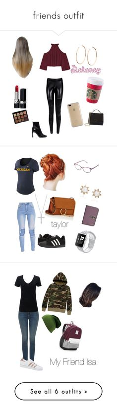 """""""friends outfit"""" by mountaindewqueen15 ❤ liked on Polyvore featuring W118 by Walter Baker, rag & bone, Jennifer Fisher, Christian Dior, Morphe, Speck, Givenchy, Corinne McCormack, NIKE and adidas"""