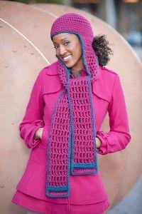free crochet pattern hood scarf hat simmons red heart