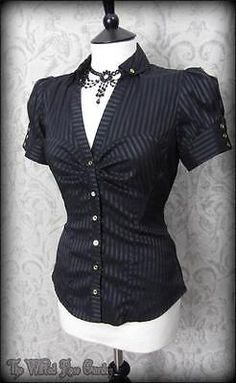 Elegant Gothic Black Satin Striped Puff Sleeve Top 10 Victorian Steampunk in Clothes, Shoes & Accessories, Women's Clothing, Tops & Shirts | eBay