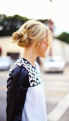 Messy side bun